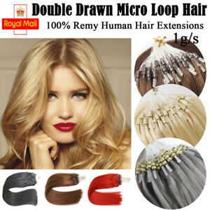 """14""""-24"""" 1g 7A* Double Drawn Remy Micro Loop Ring Bond Bead Human Hair Extension"""