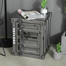 Metallic Retro Container Alike Bedside Table Storage Cabinet Urban Home Office