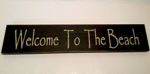 """""""Welcome To The Beach"""" Wood Sign Plaque Gold Lettering On Black 17"""" X 3 1/2"""""""