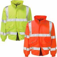 Mens Hooded Hi Vis Visibility Bomber Jacket High Viz Padded Safety Coat Size