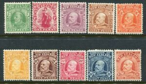 NEW ZEALAND....  1909 KEd  complete set of 10    mint