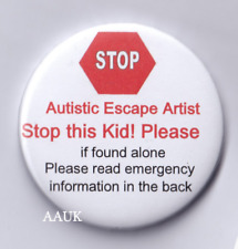 Autism Badge,Escape Artist, emergency ASD . 2.25in world autism