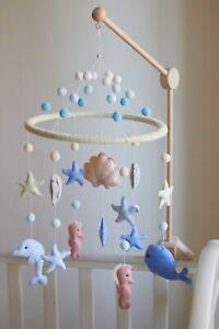 Nursery Baby Mobile for crib Whale Baby mobile with seashell Sea theme nursery