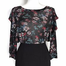 Free People Top Black Floral Ruffle Trim Long Sleeve Stretch Dock Street Size S