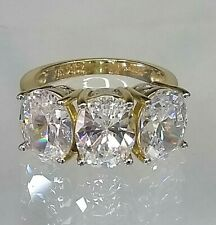 Vintage Trillogy Ring 14ct Yellow Gold 6+ ct Diamond simulant Pristine Condition