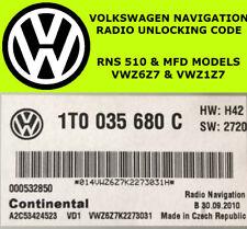 VOLKSWAGEN RNS-510 MFD RADIO CODE UNLOCK STEREO CODES PIN   FAST SERVICE