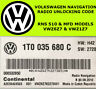 VOLKSWAGEN RNS-510 MFD RADIO CODE UNLOCK STEREO CODES PIN | FAST SERVICE