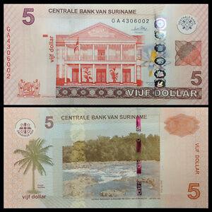 Suriname 5 Gulden, 2010, P-162a, UNC, Banknotes, Original