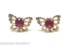 9ct Gold Ruby filigree Butterfly Stud earrings Boxed