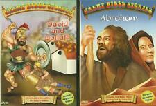 Lot 4 Kids Great Bible Stories David & Goliath Abraham Animated 2 DVDs NEW