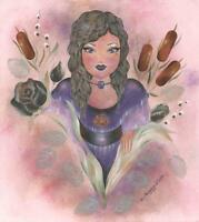 VICTORIAN BOTANICAL FAIRY GARDEN PUSSY WILLOW CATTAILS ROSE VIOLET EYES PAINTING