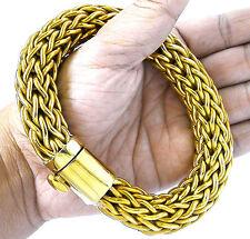"Chain Bracelet 8.5"" to 9"" wrist New Big Huge Heavy Woven Bali Link Gold Brass"