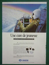 1991 PUB SAGEM  AVIONIQUE NAVIGATION DEFENSE PILOT DISPLAYS ORIGINAL FRENCH AD