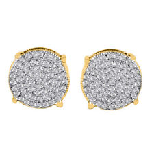 18K Gold Simulate Diamond Micropave Earring Stud Round Hip Hop 12G