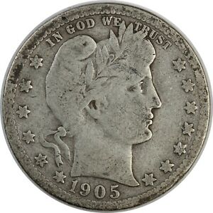 1905 United States Barber Head Quarter - VG Very Good Condition