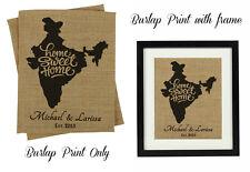 Darling Souvenir Home Sweet Home Burlap Print India Map Housewarming -DSBP165