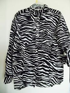Jones New York Sport  White Black Animal Print Long sleeve Top Shirt  Sz 2X