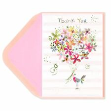 Papyrus Greeting Thank You Card bird with Gem flowers Super Cute