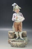 "FRENCH MAJOLICA NAPOLEONIC SOLDIER FIGURAL VASE CARD RECEIVER 11 75"" ANTIQUE"