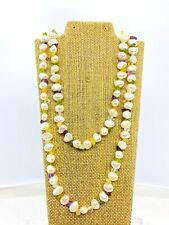 Vintage 14k Yellow Gold Multi-Gemstone Baroque Pearl Two Strand Necklace