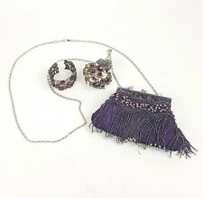 Purple Peacock Cuff Bracelet, Small Change Purse & Flower Bracelet