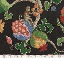 P Kaufmann Uzbek Onyx Monkey Elephant Floral Print Fabric BTY