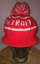 VTG 70s/80s DETROIT RED WINGS Billed Beanie Knit Hat w/ Visor POM POM NHL HOCKEY