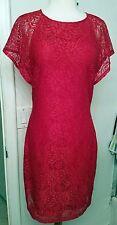 BELLE BADGLEY MISCHKA RED DRESS SPARKLE FLORAL LACE SZ.10