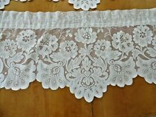 THREE 3 piece Sets LACE CURTAINS SHARI Scalloped Ivory Valance/Swag JCPenney