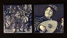 (2) x Delft Original Hand Painted Porcelain Decorated Tiles