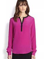 Diane Von Furstenburg Womens 2 Fuchsia Maisy Silk Blouse Top Long Sleeve