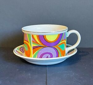 Vintage Enoch Wedgwood Crescendo Psychedelic Pattern Cup & Saucer Duo, 1960s (A)