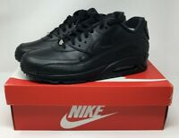 New Nike Air Max 90 Leather Running Shoes Triple Black 302519 001 Men's Size 10