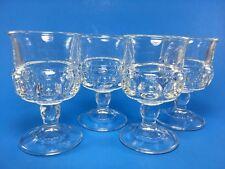 Vintage Indiana Kings Crown Thumbprint Wine Glass Claret Stemmed Cordial - Set 4