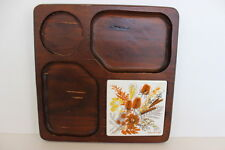Vintage Georges Briard Brown Wood Serving Board White Tile Autumn Rust Flowers