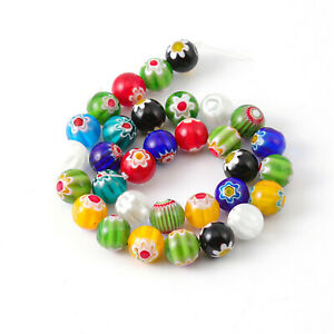 23-85PCS/String Floral Plated Glass Beads Loose Beads Spacer Beads DIY Findings