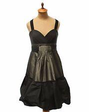 BCBG Max Azria Ladies Black Gray Taffeta Cocktail Party Dress Size 8