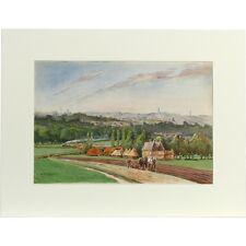 Original Unframed Landscape Painting Plough Horse Pastoral Landscape Signed AC