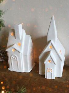White Ceramic Tea Light House Candle Holders, Choose Church, Cottage 16cm