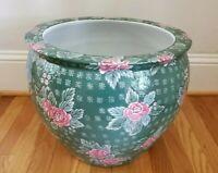 Large Oriental Chinese Green & Pink Floral Jardiniere Planter Vintage Fish Bowl