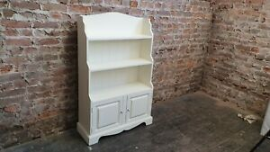 Painted Graduated Bookcase Shelves With Cupboard