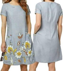 JOE BROWNS Womens Fabulous Grey Floral Border Dress Tunic Viscose Linen 8 - 18
