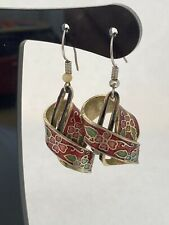 Vintage Enamel Cloisonné Earrings Drop Pierced Ears Hook