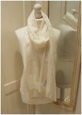 Ivory White 100% Pure Cashmere Wool Scarf Shawl Wrap Pashmina Fine Knit Unisex
