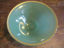 "VTG 9.25"" JADE Green OPAQUE Glass Compote/Footed Bowl W/GOLD RIM"
