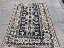 Antique Traditional Hand Made Caucasian Oriental Beige Blue wool Rug 155x114cm