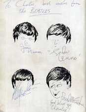 THE BEATLES Signed Note / Drawing - All 4 Autographed Page - preprint