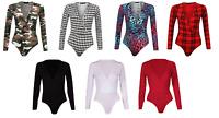 Womens Ladies Cross Wrap Over V Neck Plunge Printed Leotard Bodysuit Top 8-22