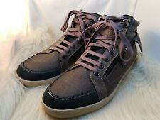 Guess Mens Leather High Top Sneakers Size 10M Shoes Zip Boots Gray Brown Lace Up