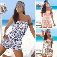 Womens Boho Summer Beach Jumpsuit Off Shoulder Bandeau Romper Playsuit Size 4-10